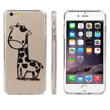 Bessky(TM) For iphone 6 Case,2015 Giraffe Print Transparent Soft TPU Gel Cover Soft Case for iPhone 6 (iPhone6 4.7 Inch)