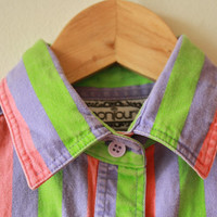 90s Neon Stripe Shirt Purple Green Pink
