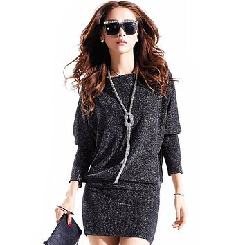 winter dress 2016 hot women dress casual sexy dresses wild Elegant long sleeve Plus size Batwing sleeve Sequins,YW1120