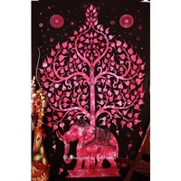 Buy High Quality Pink Hippie Elephant Tree Tapestry Wall Hanging