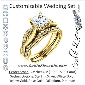 CZ Wedding Set, featuring The Louisa engagement ring (Customizable Asscher Cut Design with Twisting Split Pavé Band and Underhalo Accents)