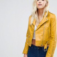Bershka Faux Leather Biker Jacket at asos.com
