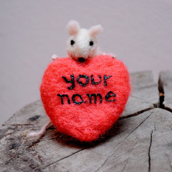 Felt mouse , White mouse with heart , Needle Felted Art Doll , Unique gift !