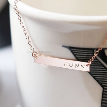 Personalized Rose Gold Bar Necklace/ Customized Name Bar Necklace/ Personalized Bar Necklace / rose Gold Name Bar