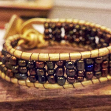 Bronze and Gold Beaded Leather Chan Luu Inspired Cuff Bracelet