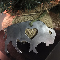 Buffalo Love Metal Art - Buffalo Ornament Decoration - Custom Metal Wears - Steel Metal Art - Made in Buffalo NY - Hearts Buffalove Decor