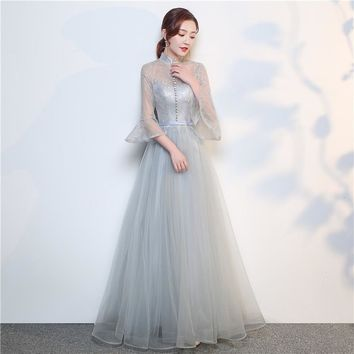 Gray Three Quarter Sleeve Evening Dresses Party Gown Backless Dress