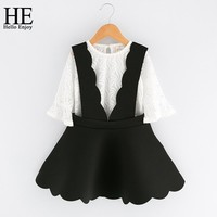 Girls clothing sets summer kids clothes girls white mesh shirt + harnesses dress 2pcs toddler girl dresses