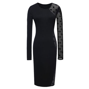 Black Lace Splicing Long Sleeves Bodycon Dress