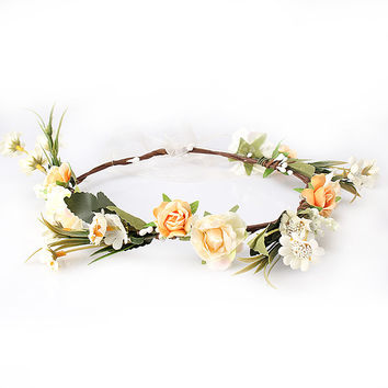 M MISM Bride Women Flower Crown Hair Band Wedding Floral Headband Garland Festival Ribbon Bow Flower Wreath Elastic Headdress