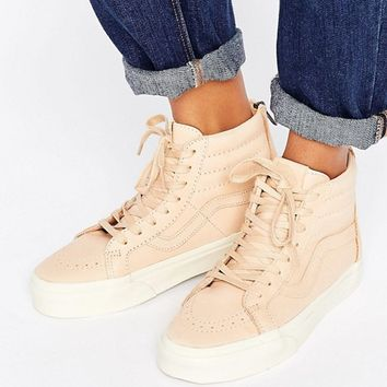 Vans Sk8-Hi Reissue Sneakers In Neutral Leather at asos.com