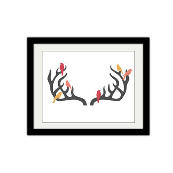 Birds on Antlers. Deer. Rustic. Vintage Inspired. Animal. Birds. Home Decor.
