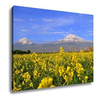 Canvas Large And Small Ararat In Armenia 16x20