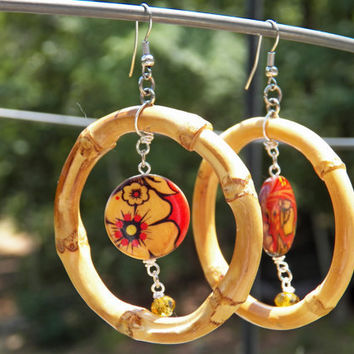 Large Hoop Earrings, Red Flower Earrings, Wooden Hoop Earrings, Bamboo Earrings, Asian Style Jewelry, Red and Black Earrings