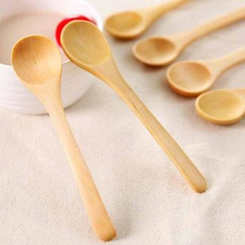 1 piece Mini Wooden Spoon Coffee Tea spoon Kids Ice Cream Spoon Home Tableware Utensil Kitchen Cooking Tool L50
