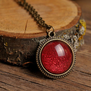Tiny red necklace, antique brass necklace, glass dome pendant, antique brass pendant, glass dome necklace, red pendant, sparkly red necklace