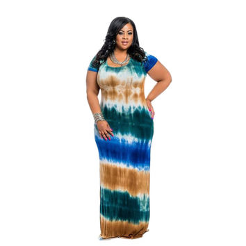 Plus Large Size 4XL Summer Casual Long Dress Fashion Tie Dye Printed Women Short Sleeve Round Neck Floor-length Maxi Dresses