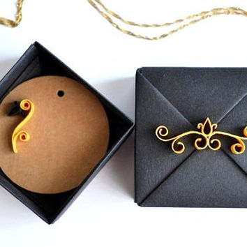 Black&Gold Jewelry Gift Box,  Small Origami Gift Box with Quilling Ornament