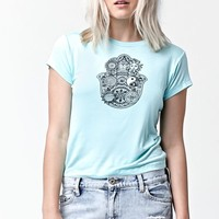 LA Hearts Henna Hand Short Sleeve Crew T-Shirt - Womens Tee - Green