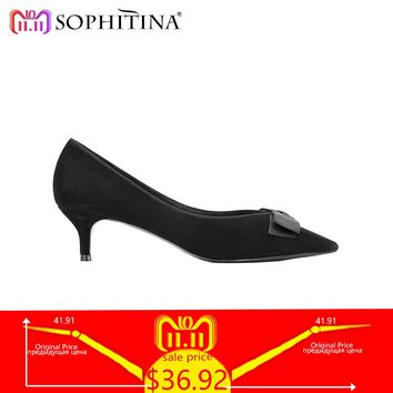SOPHITINA Luxury Woman Pump Autumn Thin Heel Wedding Party Lady Pump Sexy Pointed Toe Butterfly-knot Office Lady Casual Shoe W23