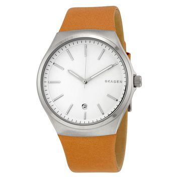 Skagen Sundby Silver Dial Mens Leather Watch SKW6261