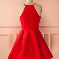 Simple Red Short Cute Homecoming Dress