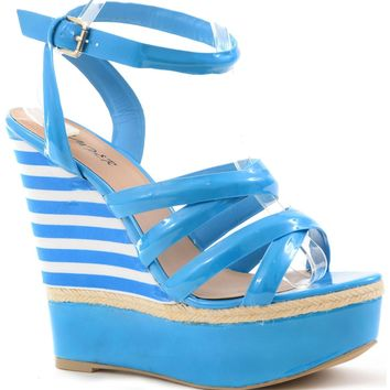 Bright Strappy Criss Cross Espidrille Anklet Wedge Heel Women's Sandal