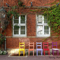 "5""x7"" Photograph - Colorful Chairs. Brick. Windows. Ivy. Red. Orange. Purple. Yellow. Hannover, Germany. Spring. Pastels. Nursery."