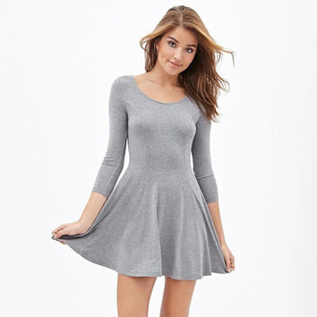 Scoop Neck Three Quarter Sleeves Flare Mini Dress