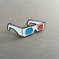 "1.5"" 3D glasses soft enamel pin"