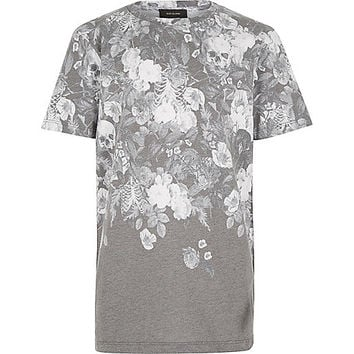 River Island Boys black faded skull print t-shirt