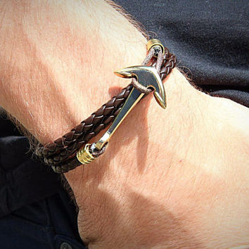 Brown leather anchor bracelet. Stylish bracelet for man and woman. Leather jewelry. Anchor charm