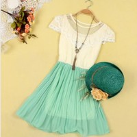 Sweet Lace Chiffon Dress