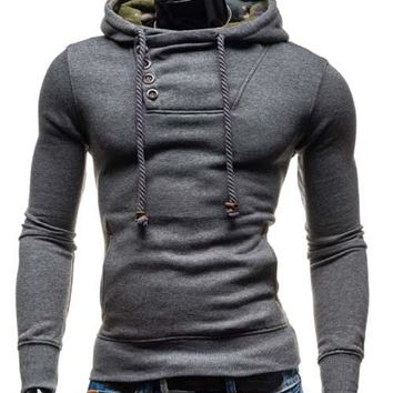 Hooded Oblique Button Elbow Patch Hoodie