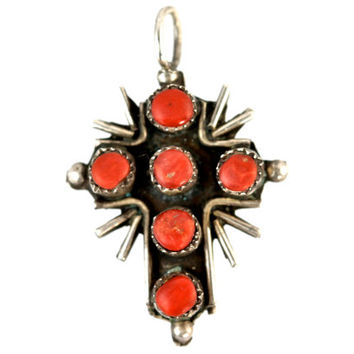 Southwestern Red Coral and Turquoise Snake Eye Holy Cross Pendant