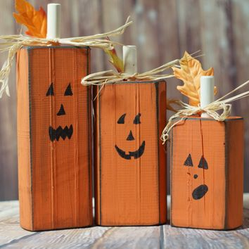 Wood Pumpkins - Rustic Halloween Decor
