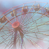 Romantic Carnival Ferris Wheel, Digital Art Print, Home Decor, Ready to Frame Photo, Wall Hanging, Fantasy Photograph, Dreamy, Light Blue