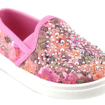 Toddler Girls Zula Floral Lace Slip On Canvas Studded Shoes FHX-08I Coral