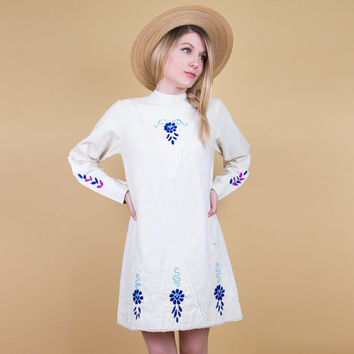 60's floral mod mini dress / cotton embroidered micro mini dress / long sleeve tunic / boho bohemian hippie retro lace mexican