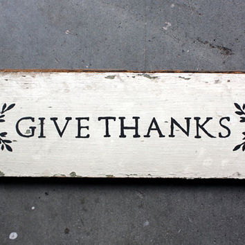"Rustic ""GIVE THANKS"" Reclaimed Salvaged Wood Home Decor Kitchen Sign White Black"