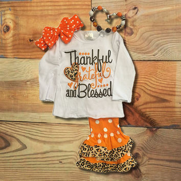 """Thankful Grateful Blessed"" Cheetah Outfit"