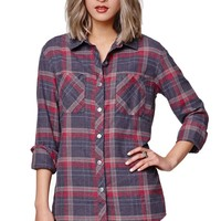 Gypsy Warrior Graphic Back Plaid Shirt - Womens Shirts