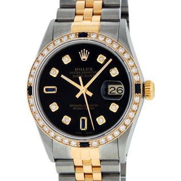 Pre-Owned Rolex Mens Datejust Steel & 18K Yellow Gold Black Diamond & Sapphire Watch 16013 Jubilee