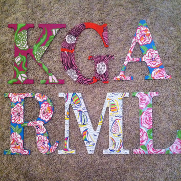 Wooden Hand painted Lilly Pulitzer inspired letters