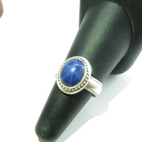 Star Sapphire Sterling Silver Ring Star Sapphire Engagement Ring Blue Sapphire Ring Size 8 Blue Stone Ring Handmade Metal Jewelry