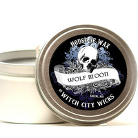 Wolf Moon musk scented soy candle 8 oz. tin, dark home decor