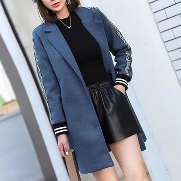 fendi women all match fashion multicolor letter webbing long sleeve buttons cardigan tailored collar woolen coat