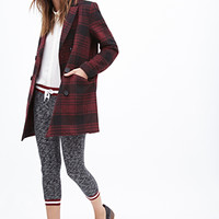 FOREVER 21 Plaid Pea Coat Burgundy/Black