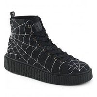 Demonia Spiderweb Hi-Top Creeper Sneeker 250 | Attitude Clothing