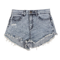 HIGH WAISTED LIGHT ACID WASH DENIM SHORTS - MEDIUM